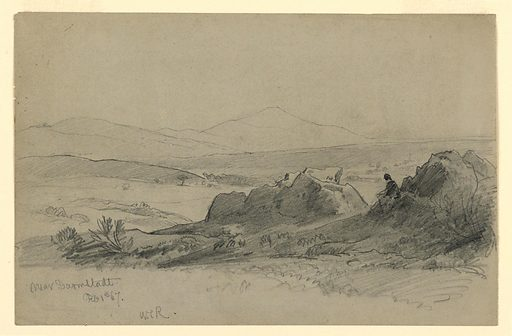 Sketch of a rocky terrain with a figure in the foreground and hills in the background. Made in: Darmstadt, Germany. Date: 1860s. Record ID: chndm_1953-179-33.