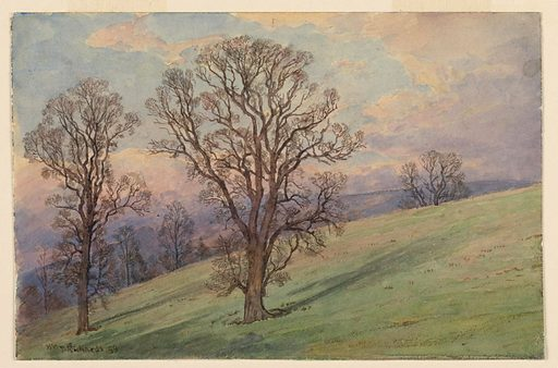 View of a hillside with trees and a valley in the background. Made in: Pennsylvania, USA. Date: 1890s. Record ID: chndm_1953-179-78.