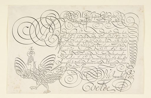 Ornate example of script in the form of a letter. Flourishes include swirls and a crowned eagle at lower left. Made in: Netherlands. Date: 1600s. Record ID: chndm_1954-18-30.