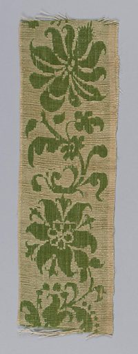 Border strip with pattern of flowers showing the linen face of the satin and background of green silk. Date: 1700s. Record ID: chndm_1896-1-127.