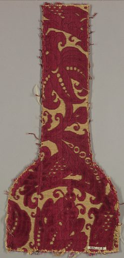 One end of a stole (religious apparel). Large dark red floral design on gold background. Date: 1800s. Record ID: chndm_1896-17-8.