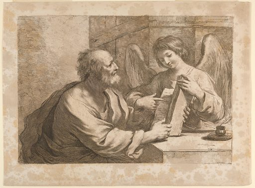 Saint Matthew is seated at a table, facing the Angel, who points to something in the book. He is to the left of the table, the ANgel behind it at the right. A pen and ink are on the table. Print maker: Francesco Bartolozzi, Italian, 1727–1815. Made in: Italy. Date: 1770s. Record ID: chndm_1896-3-263.