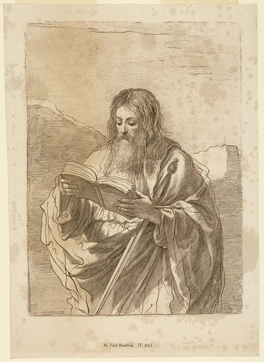 Saint Paul stands with a book in his hands, a sword in his left arm. Rocky ridges or mountains beyond. Print maker: Francesco Bartolozzi, Italian, 1727–1815. Made in: Italy. Date: 1770s. Record ID: chndm_1896-3-265.
