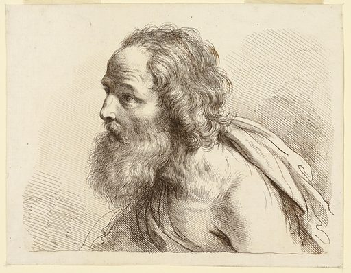 The man's face turned to the left, in profile, his left shoulder bare, a robe around his chest and over his right shoulder. Print maker: Francesco Bartolozzi, Italian, 1727–1815. Made in: Italy. Date: 1770s. Record ID: chndm_1896-3-272.