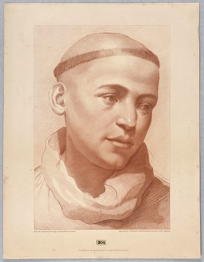 The young man shows the collar of a monk's habit, and his head is tonsured. He looks down to the right. Print maker: Francesco Bartolozzi, Italian, 1727–1815. Made in: England. Date: 1790s. Record ID: chndm_1896-3-305.