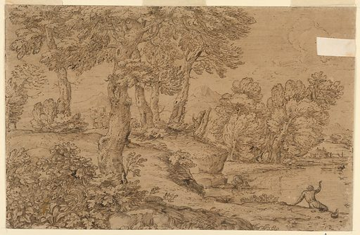 Trees are at left and in the right middle plane. A part of the pond is shown in front of the latter. A man kneels at its edge, another is shown from the back seated and raising his right hand toward a boat. A peasant's house is beyond the pond. Mountains are in the background. Made in: Italy. Date: 1650s. Record ID: chndm_1901-39-1.