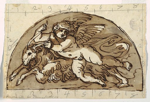 Winged putto reclining on goat in a demi lune. Made in: Italy. Date: 1800s. Record ID: chndm_1901-39-1182.