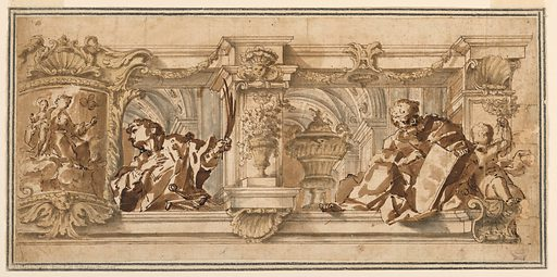 Horizontal rectangle. The ride side is shown. Above an entablature are openings in a gallery, seen from below. They are framed by pilasters. At right sits a man writing in a book, possibly Saint Matthew. At center is a decorative vase. At center left, is the upper part of a figure, possibly Saint Lawrence. At far left is a framed picture of the Virgin and Child. Seen in the background, a vaulted ceiling. Made in: Italy. Date: 1680s. Record ID: chndm_1901-39-1234.