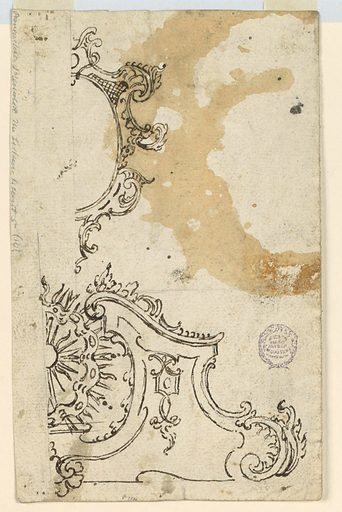 The right half of a broken pediment, having in the center a disk with the sun and rays. Made in: Italy. Date: 1720s. Record ID: chndm_1901-39-1435.