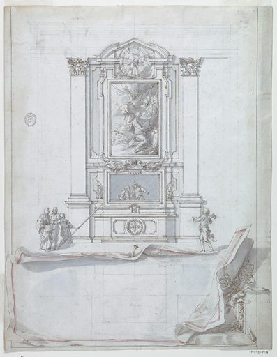 Centrally placed elevation of an altar showing a painting of a penitent saint in the wilderness. The heads of two cherubs can be seen above in a circular frame. The altarpiece is flanked by Corinthian topped pilasters. A group of three figures, one of which holds a lance, appears at the left of the altar. At right, one figure carries candlesticks. Below the elevation, a sheet of paper containing a plan view is drawn in trompe-l'oeil and edged with red. The edges appear rolled, and an elaborate frame is shown at right, behind the sheet. Made in: Italy. Date: 1770s. Record ID: chndm_1901-39-1471.