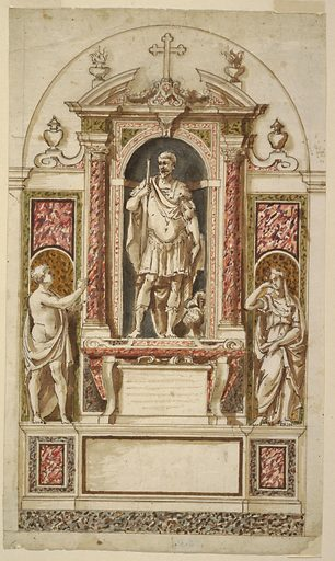 Vertical rectangle. Retable scheme. Below are a base and a dado. A sarcophagus with the tablet for the inscription between its legs stands below in the center of the upper part. Above it is a niche with a broken pediment and flanked by embedded columns. A statue of a man in classical armor with a lance stands in it. In front of the lower lateral panels are statues of women, a nude one with a cloth at left, a mourning one at right. Framed by the outlines of a bay in a church. Project intended to be executed in white and colored marbles. Made in: Italy. Date: 1600s. Record ID: chndm_1901-39-2448.