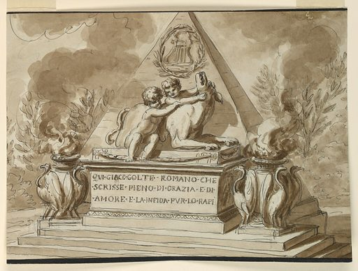 A pyramid monument decorated with a lyre within a laurel wreath, and the child figures of Romulus and Remus with the she-wolf. On either side, a brazier with birds. Inscription at front. Made in: Italy. Date: 1800s. Record ID: chndm_1901-39-261.
