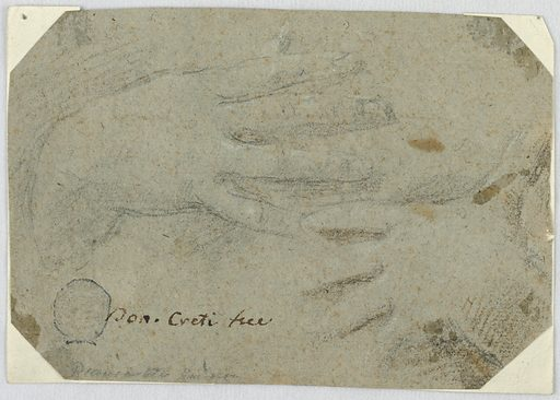 """Horizontal composition of two lightly sketched hands framed by an octagonal piece of paper. The corners of the original rectangle have been cut away. In front, written by A. Maggiori (therefore trustworthy): """"Don. Creti fece."""" On the back, """"Ales. Maggiori compro in Bologna nel 1787."""" Maggiori erased what appears to be a signature from a former owner: """"P.H. Secani (?), 1785."""". Made in: Italy. Date: 1700s. Record ID: chndm_1901-39-2755."""