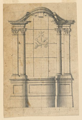 A pair of pilasters and columns with Corinthian capitals frame a window with coat-of-arms. Made in: Italy. Date: 1770s. Record ID: chndm_1901-39-422.