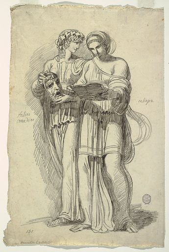 Two women walking to the left. Calliope, at right, reads a book and Thalia, at left holds a mask. Made in: Italy. Date: 1810s. Record ID: chndm_1901-39-522.