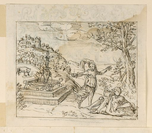 Pyramus sits in the lower right corner, under a tree. Thisbe beside a fountain at left, with a dagger to her breast. Town visible in background at left. Made in: Italy. Date: 1600s. Record ID: chndm_1901-39-544.