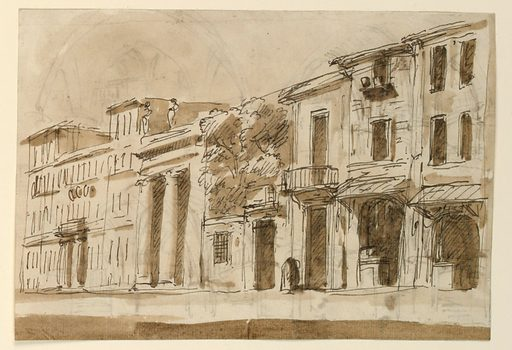 View of a street. At left, a building with two columns and attic sculptures. At center, a tree grows from a rear courtyard. Made in: Italy. Date: 1800s. Record ID: chndm_1901-39-721.