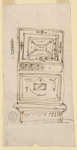 Elevation of a cabinet with roughly-sketched inlaid work. Two drop doors are seperated by a drawer with a lozenge band. Made in: Italy. Date: 1800s. Record ID: chndm_1901-39-881.