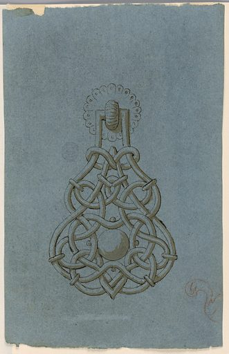 Design for a doorknocker with interlace work. Made in: Italy. Date: 1800s. Record ID: chndm_1901-39-924.