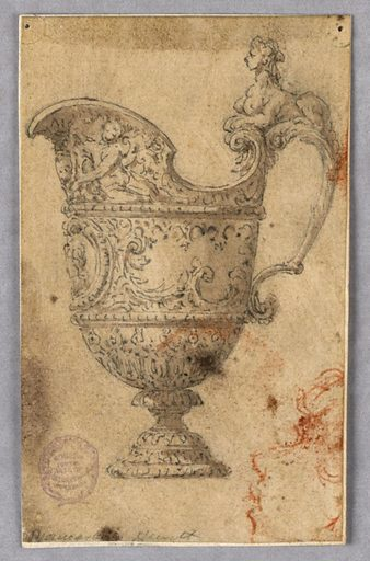 A footed helmet shaped ewer, spout facing left. On its handles it's a sphinx. Bands of floral decoration. Below of the spout, a portrait medallion. In chalk, lower right: a face shown in profile. Made in: Italy. Date: 1800s. Record ID: chndm_1901-39-957.