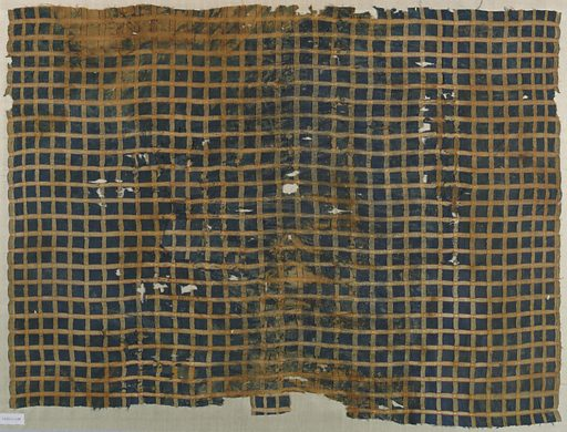 Plaid of dark blue, tan and red. Date: 1200s. Record ID: chndm_1902-1-189.