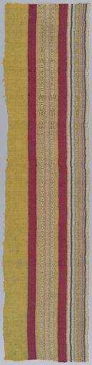 Vertical stripes patterned with supplementary warp floats. Selvage at one side. Made in: North Africa. Date: 1800s. Record ID: chndm_1902-1-643.
