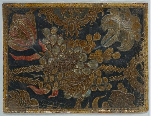 Bunch of grapes as central motif, large red tulips, and lily-like flower. Date: 1700s. Record ID: chndm_1903-9-4.