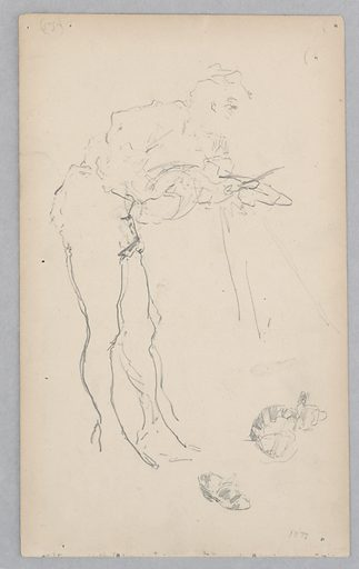 Sketch of a figure holding an infant. Made in: USA. Date: 1870s. Record ID: chndm_1904-16-108.