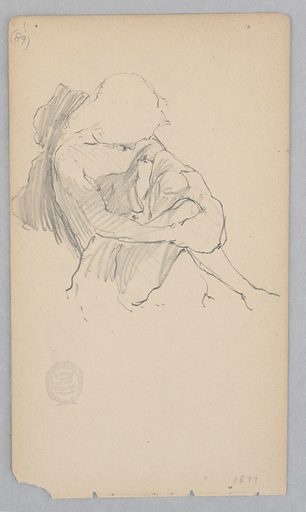 Sketch of a seated male figure wearing a turban. Made in: USA. Date: 1870s. Record ID: chndm_1904-16-184.