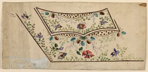 Design for the embroidery of the left bottom part of a man's waistcoat. The decoration consists of leaf and flower boughs and of a plant suspended from the central bottom point of the edges of the pocket. Ovoidal panels with blossoms and leaves and zigzag bottom edges are shown in the top center of the flag of the pocket and beneath its two bottom segments. Made in: France. Date: 1780s. Record ID: chndm_1906-21-189.