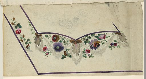 Unfinished design for the left bottom corner. Flower boughs and lace festoons uner the pocket. Waved garland and flower and fruit boughs along the left edge. Made in: France. Date: 1780s. Record ID: chndm_1906-21-227.
