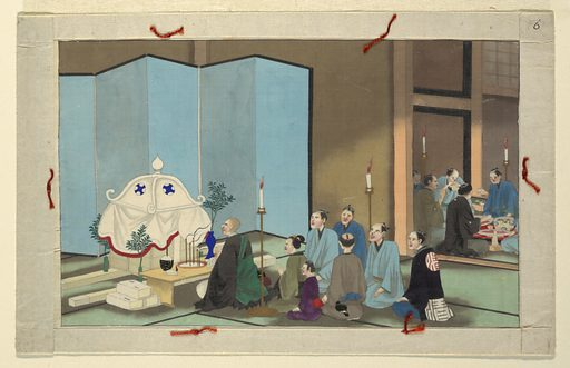 From a series of sixteen scenes of the death and burial of a man in Japan. Made in: Japan. Date: 1800s. Record ID: chndm_1908-17-9.