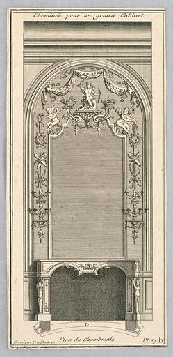 Design for a Fireplace for a Grand Cabinet. Print maker: Pierre Lepautre, French, ca. 1660 – 1774. Made in: France. Date: 1740s. Record ID: chndm_1921-6-33.