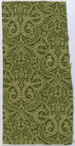 Brussels-style carpet fragment with pattern of dense allover interlace with medallions. In shades of olive green. Made in: USA. Date: 1890s. Record ID: chndm_1956-42-74.