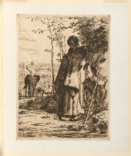 A shepherdess wearing a long cloak, or shawl, stands near a bank, right, intent on her knitting. Sheep graze at the left and beyond them is an open landscape. Print maker: Jean-Francois Millet, French, 1814 – 1916. Date: 1860s. Record ID: chndm_1957-168-14.