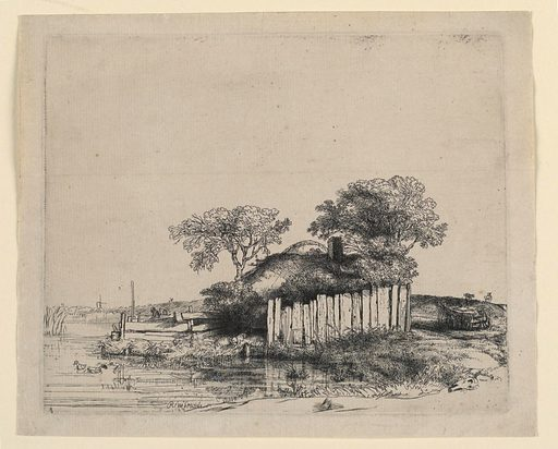 A thatched cottage, surrounded by a high white paling and shaded by two trees stands at the border of a pool in which two ducks are seen swimming. In the right distance is a farm wagon, and two horses; in the left distance, a windmill. Made in: Amsterdam, Netherlands. Date: 1640s. Record ID: chndm_1957-30-16.