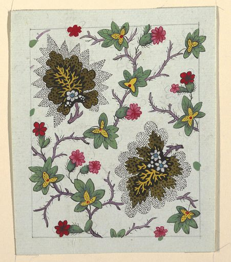 Brown leaf surrounded by black dotted pattern, green leaves, red flowers on purple branches. Graphite lined border. Made in: France. Date: 1800s. Record ID: chndm_1957-46-49.