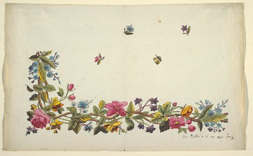 Floral border design, pink, blue and purple flowers, green leaves, scattered buds on field above, on white ground. Made in: France. Date: 1800s. Record ID: chndm_1957-46-72.