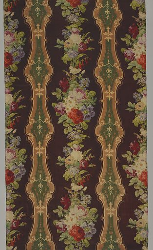 A satin-faced panel with a dark purple ground has naturalistic polychrome flowers arranged vertically between curving columns of decorative cartouches in dark green, tan and off-white. Panel is comprised of three sections of printed wool. Made in: England. Date: 1850s. Record ID: chndm_1958-131-1-a_c.