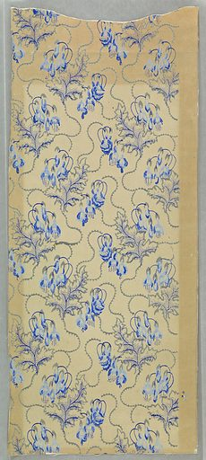 Vertical rectangle, with fuchsias in vertical serpentine arrangement. Printed in gray and blue on white paper. Made in: USA. Date: 1850s. Record ID: chndm_1938-62-79.
