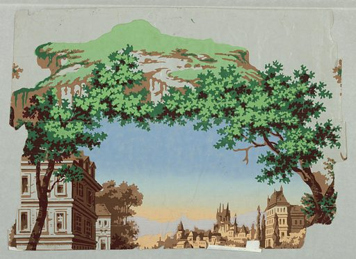 Front: Vertical rectangle, a full width, giving one repeat of vignetted scene in framework of trees. A lake, with bridge across middle distance and castles beyond; house in foreground, on left, and boat full of red-coated soldiers being drawn to shore. Made in: France. Date: 1840s. Record ID: chndm_1938-62-86-a_d.