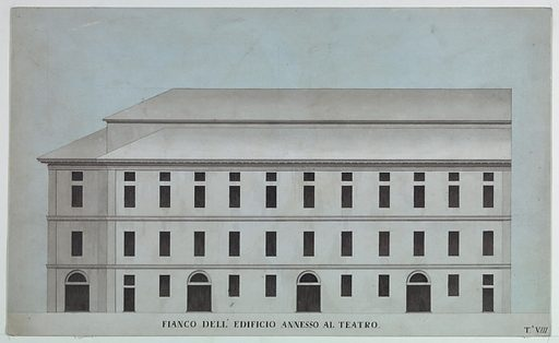 """Elevation drawing of the exterior of theater """"annex"""" showing four portals and three stories, executed in tones of tan-rose and dark gray. Made in: Venice, Italy. Date: 1780s. Record ID: chndm_1938-88-121."""