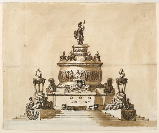 Large tiered monument with several figures; topped with a robed warrior. Made in: Italy. Date: 1800s. Record ID: chndm_1938-88-1650.