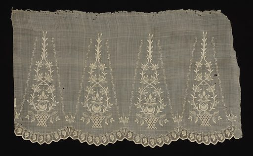 Rectangular piece of fabric for the sleeve of a blouse embroidered in a design of a plant in a basket alternating with leaf and scroll motif. One scalloped edge. Made in: Philippines. Date: 1800s. Record ID: chndm_1939-51-5.