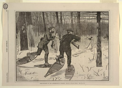 Horizontal view of a clear space in woods, with two men in foreground, centre and left centre, wearing snow-shoes and carrying rifles, moving toward antlered stag in middle distance, right, being attacked by dogs. Made in: USA. Date: 1870s. Record ID: chndm_1939-70-1.