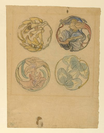Horizontal view of ornaments composed of two petals and leaves at left; of two boughs with maple leaf seeds at right; in the top row of two leaf boughs, at left, of several boughs with leaves and a petal at rght in the bottom row. Made in: USA. Date: 1880s. Record ID: chndm_1939-85-76.