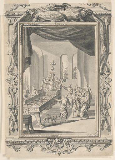 A large, elaborately carved bedstead appears on the left side of the picture. A group of men surround the bedstead on the left and right sides, staring and pointing, while a dog on the right walks, with head hanging down, towards the large structure. The background of the room contains arched windows, behind which appear trees. A stool, cut off by the picture frame on the left corner, appears in front of the bed. A curtain hangs from above, extending beyond the border of the picture and becoming part of the picture frame. A crossed pair of bones is positioned in four places on the frame, becoming part of the frame's detailed ornamentation. Made in: Zürich, Switzerland. Date: 1720s. Record ID: chndm_1940-110-7.