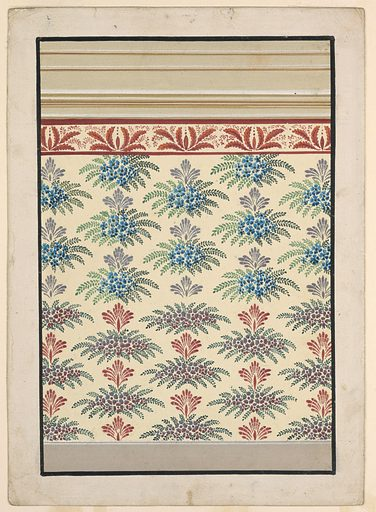 A dado is shown at the bottom, a frieze with a row of palmette motifs and an entablature are on top. The panel is decorated with staggered motifs, for which two slightly different suggestions are made, in the upper and lower parts. They consist of bunches of blossoms and leaves beneath palmettes. Made in: Austria. Date: 1840s. Record ID: chndm_1940-120-53.