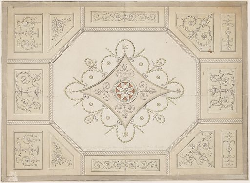 Horizontal format design for a plaster ceiling. Outside are oblong and pentagonal panels, the latter in the corners framed by an interlacing band. The pentagons are decorated with two panels each, those at left with oblongs and pentagons. Most panels show plant candelabra. The oblongs in the center of the long sides show rinceau motifs, the irregular tetragons show disks above crossed branches. Made in: London, England. Date: 1770s. Record ID: chndm_1940-21-12.