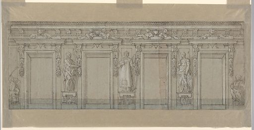 Horizontal format design for a painted facade. Four windows with a framing entablature above. In the intervals between the window frames stand figures upon consoles: at left St. John the Baptist; center: St. Lawrence, at right a soldier martyr. At the left edge a putto sits upon a console; at the right edge the figure of a young man. Made in: probably Genoa, Italy. Date: 1610s. Record ID: chndm_1940-21-44.